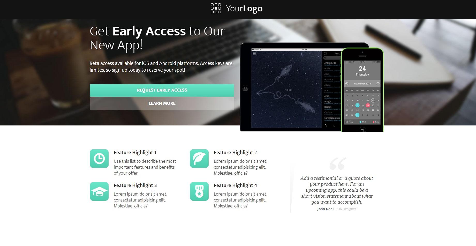 Corp App Landing Page